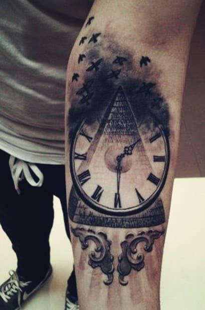 Pyramid With Clock Tattoo Tattoo Bytes