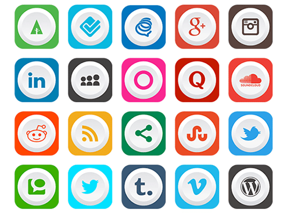 Rounded Flat Social Media Icons