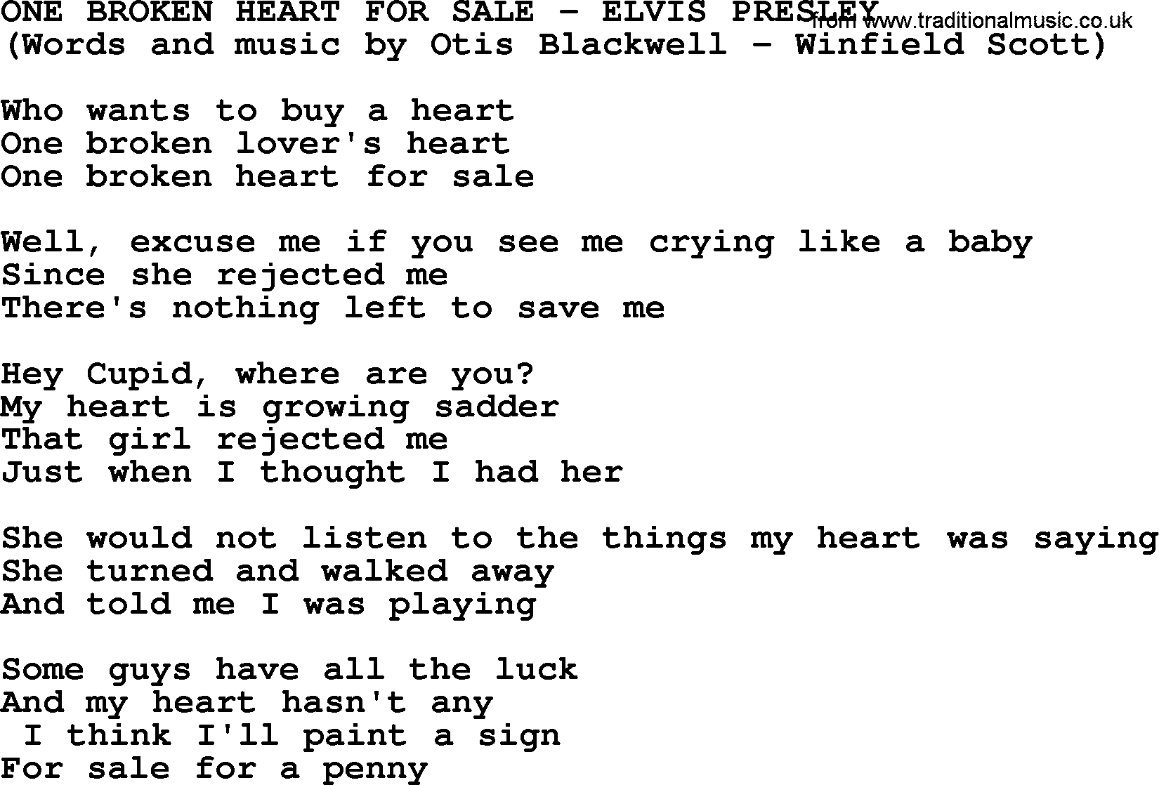 One Broken Heart For Sale By Elvis Presley Lyrics