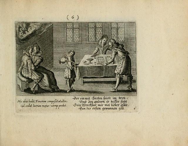 Early Modern domestic scene - standing man + woman playing backgammon