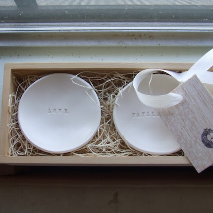 wooden boxed set of two  tiny text bowls in CUSTOM or YOUR CHOICE of texts