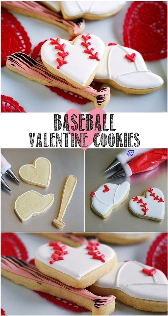 how to make baseball valentine decorated cookies