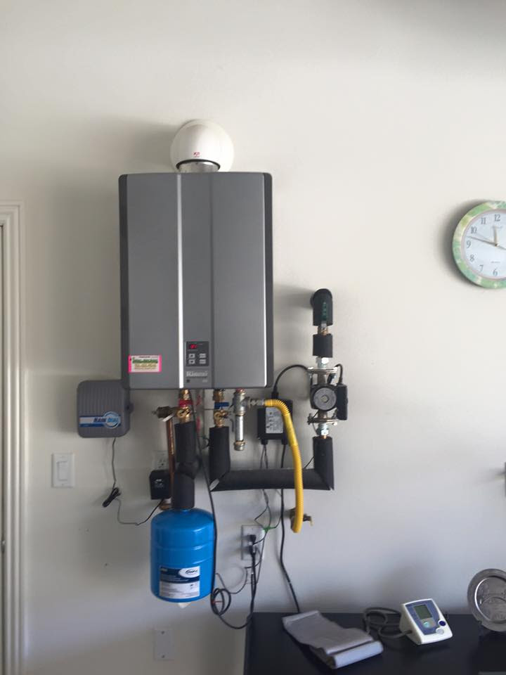 Rinnai tankless water heater with expansion tank and pump installed Irvine California