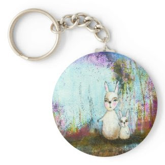 Whimsical Rabbits Abstract Art Painting Key Chains