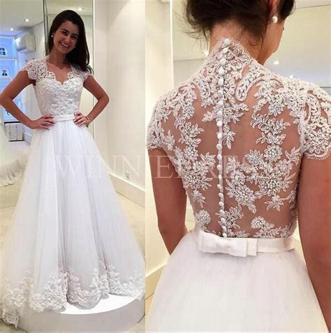 Shop discount Dreamy Zipper Button Back Bridal Gowns Cap