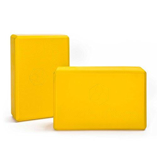 2 »Aruna« yoga blocks / very light rigid-foam yoga block to support special yoga exercises. yellow