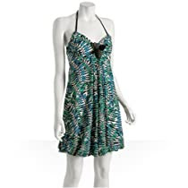 Eva Franco blue leaf halter bubble dress