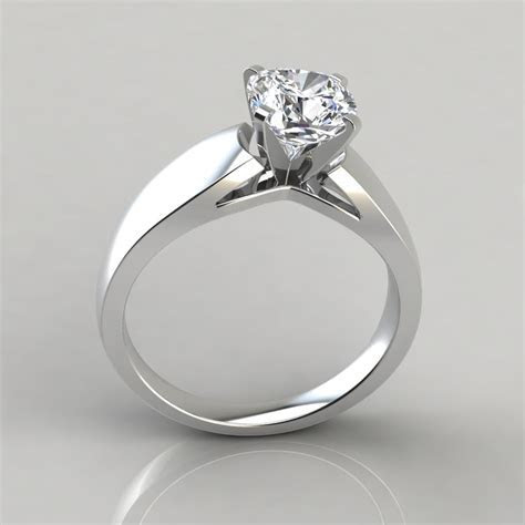 Wide Band Cushion Cut Solitaire Engagement Ring   Forever