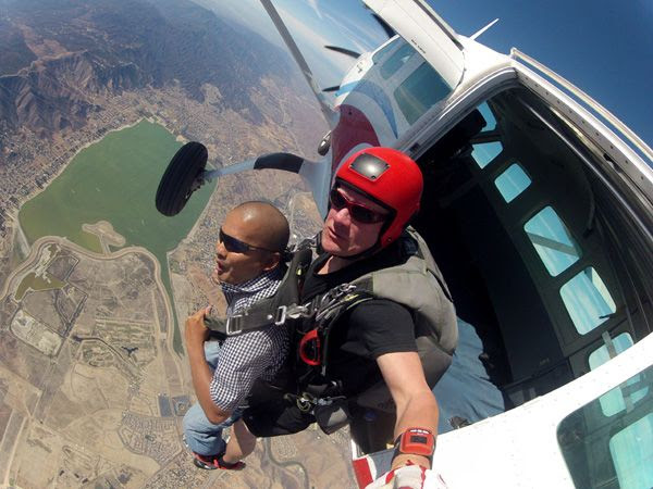 Jumping out of an aircraft to do another tandem skydive...this time above Lake Elsinore, CA, on October 4, 2014.