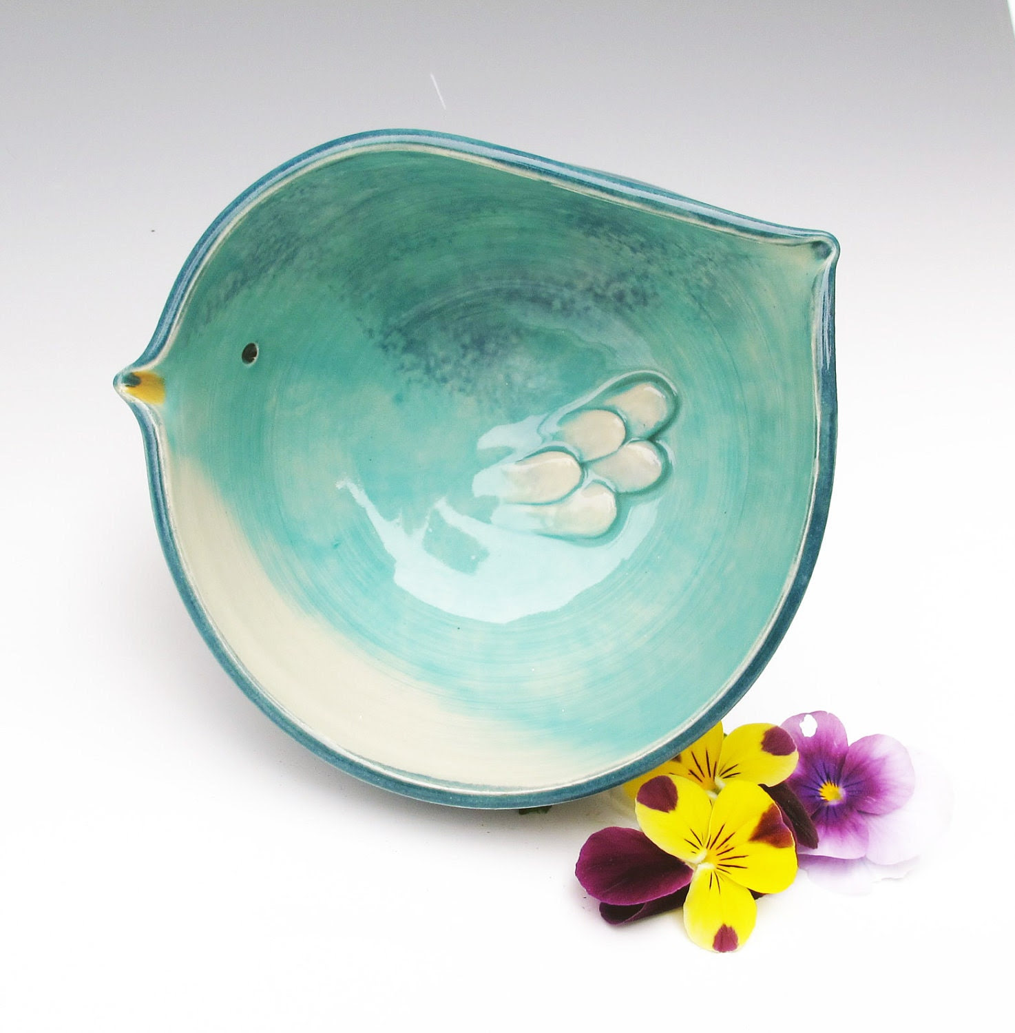 Bird shaped Bowl in Turquoise - Perfectly holds one cup