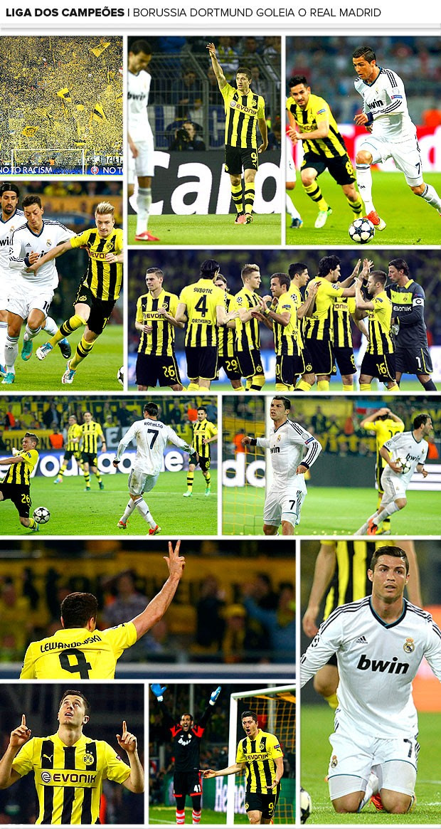 Mosaico Borussia Dortmund x Real Madrid (Foto: Editoria de Arte)