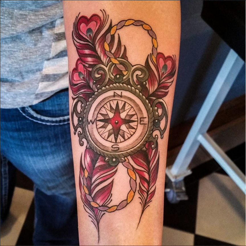 Compass And Feathers Tattoo By Matt Rousseau Your Flesh Tattoo
