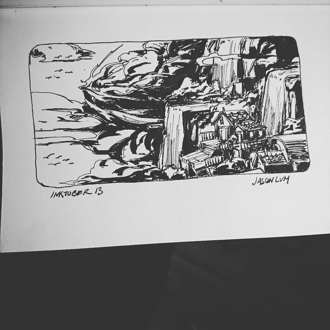 Waterfalls and clouds. It's also 5am ugh. #inktober 13 #art #artistsoninstagram  #drawing #landscape #ink #blackandwhite #clouds #waterfalls #sketch #sketchbook #house