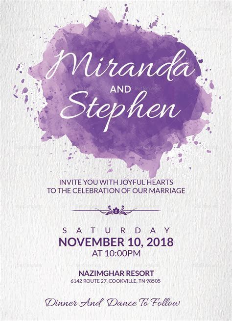 Watercolor Wedding Invitation Card Design Template in Word