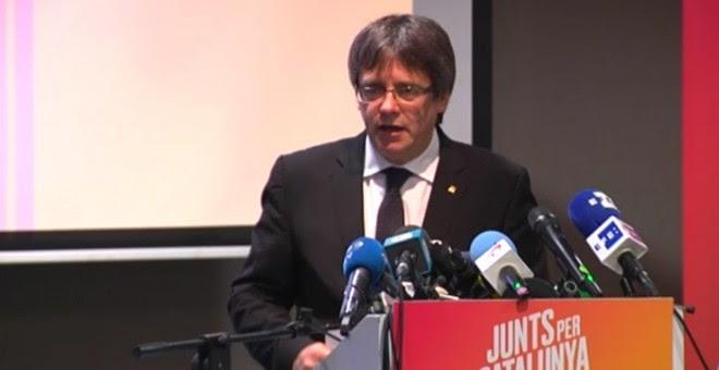 El expresidente Puigdemont durante su conferencia