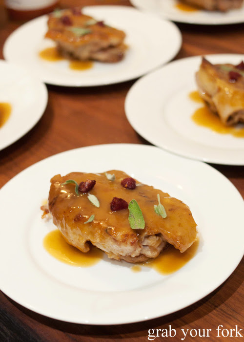 Crispy deboned turkey mid-wings with turkey gravy and cranberries