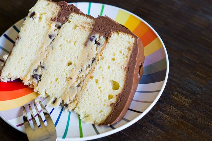 Yellow Cake with Cookie Dough Filling and Fudge Frosting, the ultimate birthday cake!