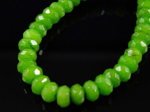 10 pc - Faceted Light Green Rondelle Jade Beads, 8x5mm
