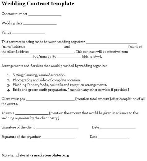 Wedding Contract Template   Contracts/ Questionnaires