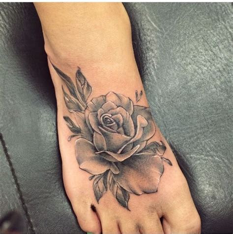 awesome rose foot tattoos
