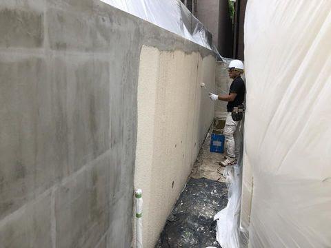 擁壁面吹付塗装 大阪北部地震擁壁復旧工事 大阪 堺 アーテック にしかわ 一級建築士