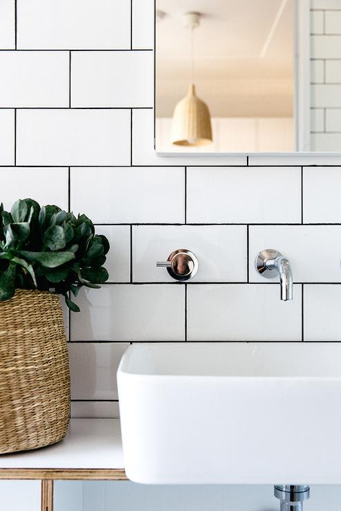 Bathroom with White Subway Tiles and Black Grout - Modern ...