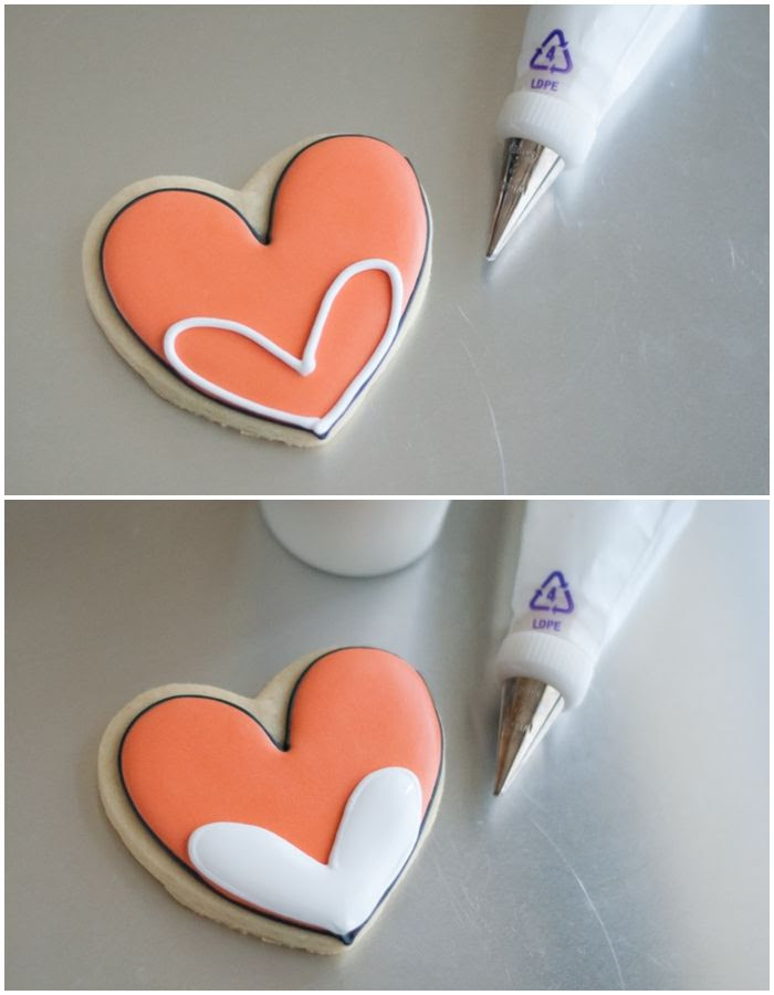 how to decorate a heart-shaped fox cookie