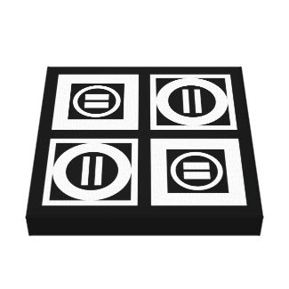 White on Black Geometric Equal Sign Pattern Canvas Print