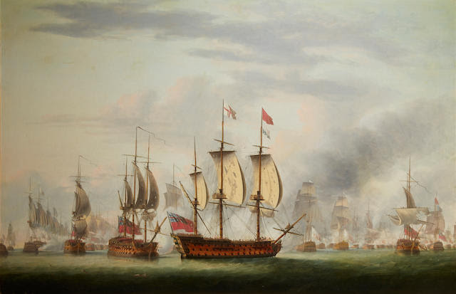 Robert Dodd (British, 1748-1816) The Battle of the Saints 32-1/2 x 42-1/2 in.
