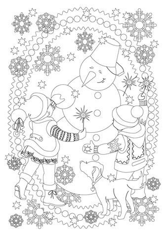 Dibujo De Una Nina Un Nino Un Perro Y Un Muneco De Nieve Estan