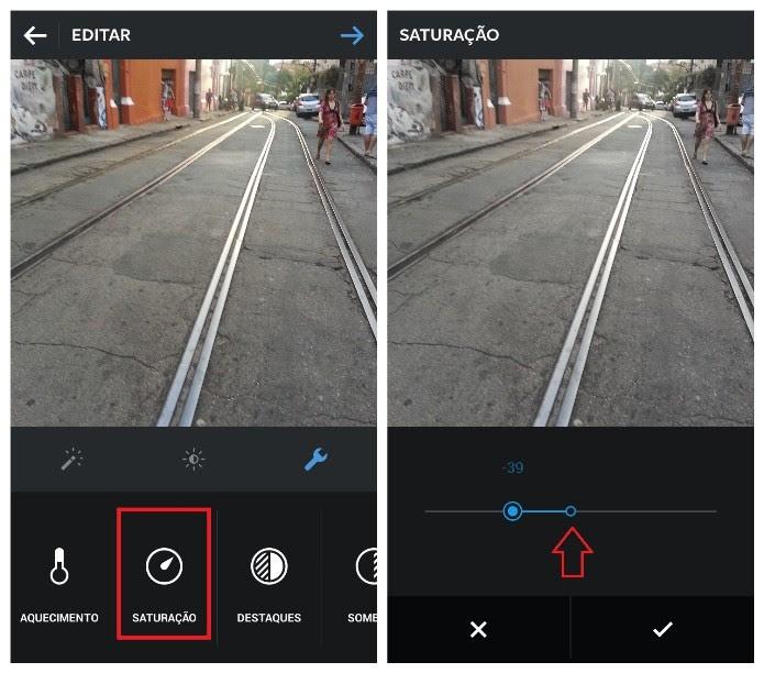 Ferramenta de controle de saturação da foto no Instagram (Foto: Reprodução/Lívia Dâmaso)