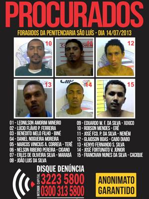 Somente dois fugitivos já foram recapturados (Foto: Divulgação/Disque-Denúncia)