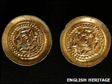 Two gilded copper Saxon saucer brooches