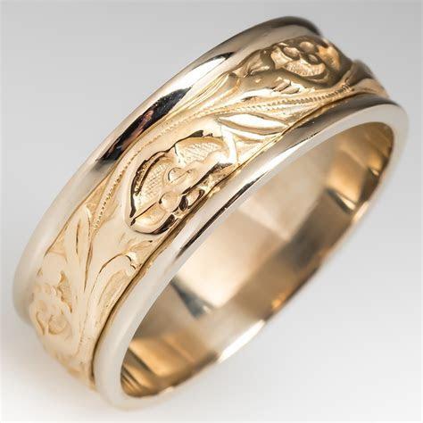 Mens Floral Design 2 Tone 14K Gold Wedding Band Size 11.25