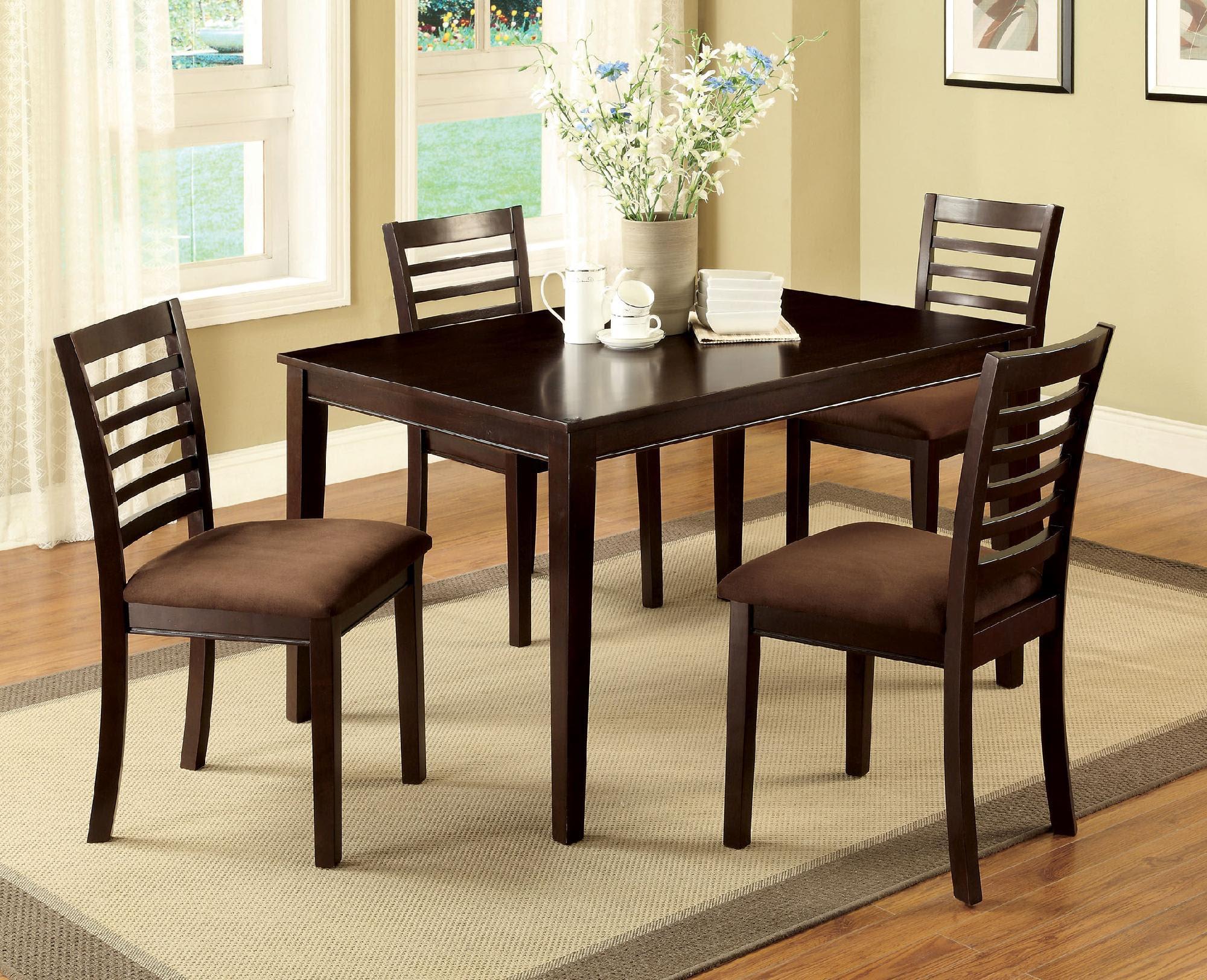 Furniture of America Larkans Espresso 5-Piece Dining Table Set