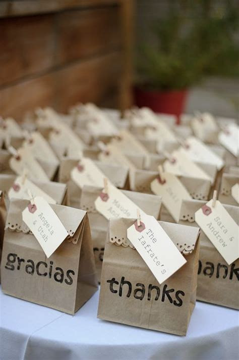 paper bag favors with 'thanks' and 'gracias'   For Parties