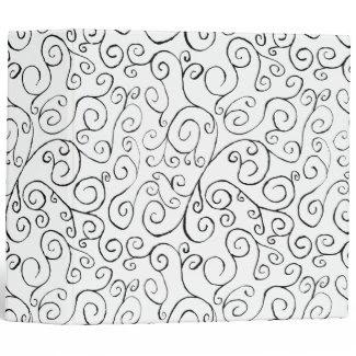 Hand-Painted Black Curvy Pattern on White 3 Ring Binder