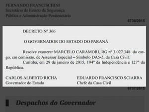 Decreto exonerando Marcelo Caramori do cargo foi publicado no Diário Oficial do Paraná (Foto: Reprodução/Diário Oficial do Paraná)