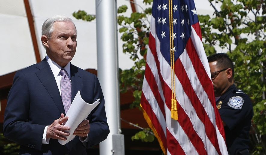 Attorney General Jeff Sessions leaves a news conference after touring the U.S.-Mexico border with border officials, Tuesday, April 11, 2017, in Nogales, Ariz. Sessions announced making immigration enforcement a key Justice Department priority, saying he will speed up deportations of immigrants in the country illegally who were convicted of federal crimes. (AP Photo/Ross D. Franklin)