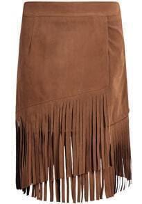 Tassel Velvet Khaki Skirt