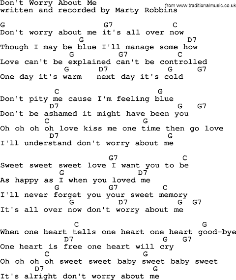 Don T Worry About Me Lyrics Marty Robbins