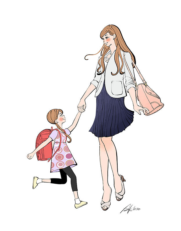 娘と手をつなぐ仕事帰りのママ働く女性イラスト制作のご依頼