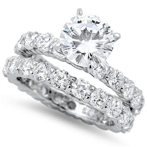 3CT ROUND RUSSIAN CZ Eternity Engagement Ring Wedding Set