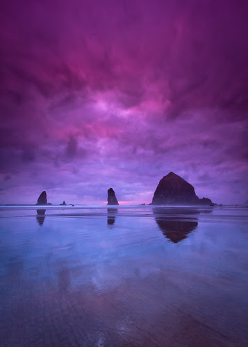 Cannon Beach Cloudy Sunset
