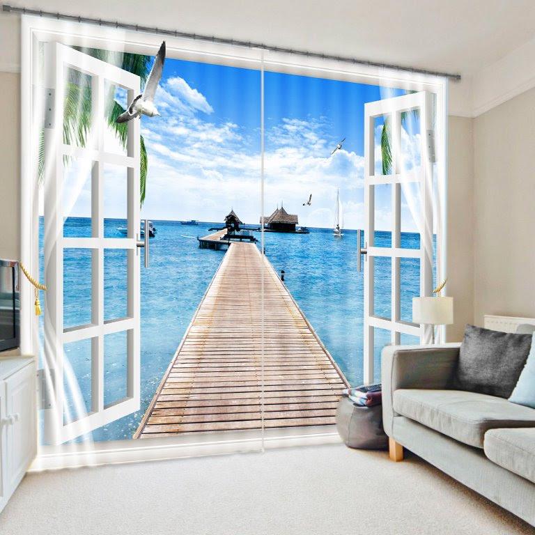 Beautiful Scenery Light Blocking 3D Curtain