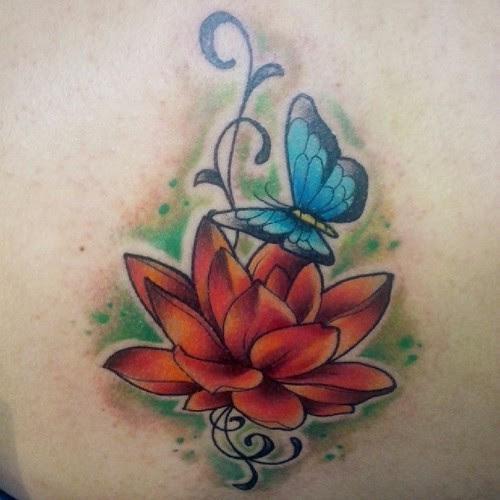 Tattoo Loto Y Mariposa Ta2 Tatuaje Tattoo Artist Piel Skin