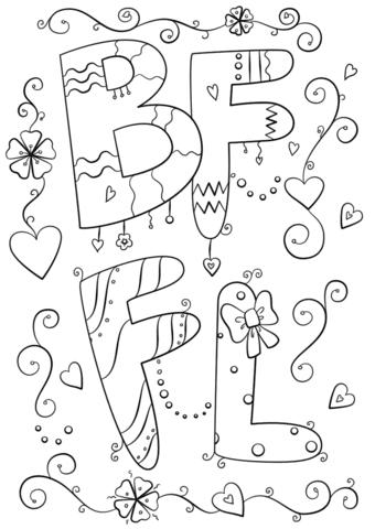 Dibujo De Mejores Amigos Para Siempre Para Colorear Dibujos Para