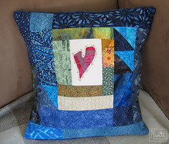 blue pillow + heart :: blå pute + hjerte #2