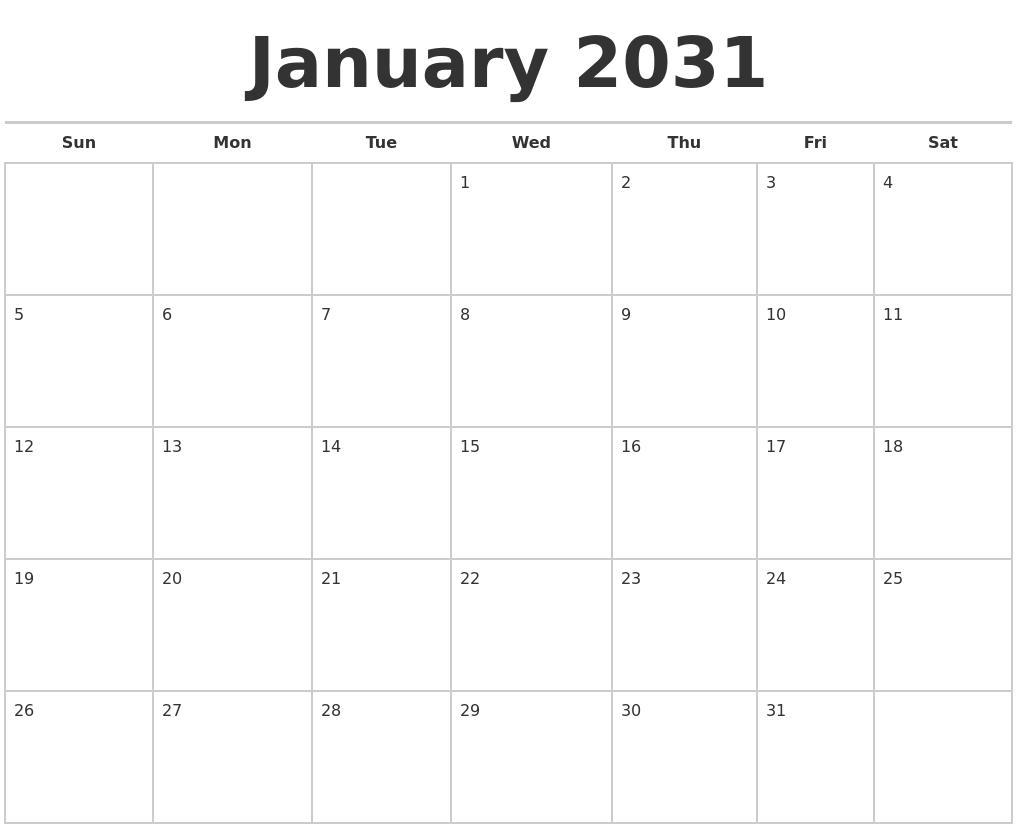 january 2031 calendars free