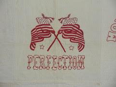 Red & White Floursack quilt detail